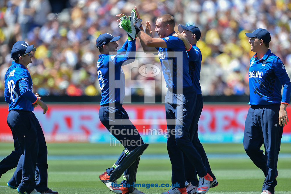England players celebrates during the 2015 ICC Cricket World Cup match at Melbourne Cricket Ground, Melbourne<br /> Picture by Frank Khamees/Focus Images Ltd +61 431 119 134<br /> 14/02/2015