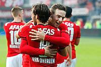 ALKMAAR - 04-10-2015, AZ - FC Twente, AFAS Stadion, 3-1, AZ speler Vincent Janssen (r), AZ speler Joris van Overeem (l).