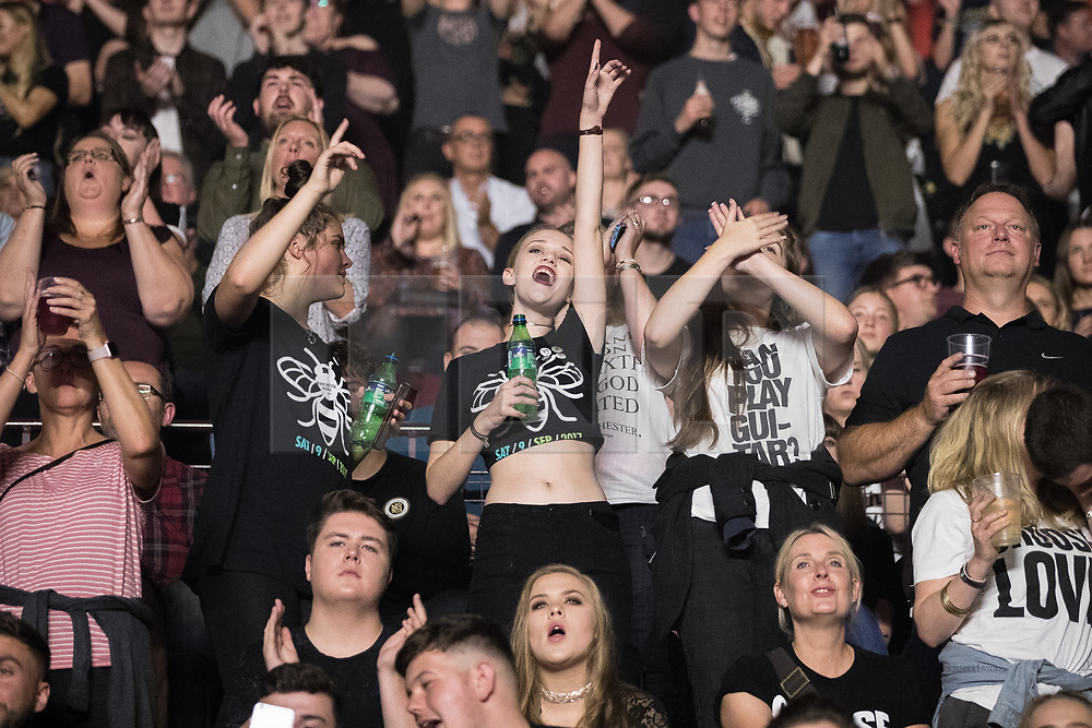 © Licensed to London News Pictures . 09/09/2017. Manchester , UK . Crowd dancing as Blossoms perform . We Are Manchester reopening charity concert at the Manchester Arena with performances by Manchester artists including  Noel Gallagher , Courteeners , Blossoms and the poet Tony Walsh . The Arena has been closed since 22nd May 2017 , after Salman Abedi's terrorist attack at an Ariana Grande concert killed 22 and injured 250 . Money raised will go towards the victims of the bombing . Photo credit: Joel Goodman/LNP