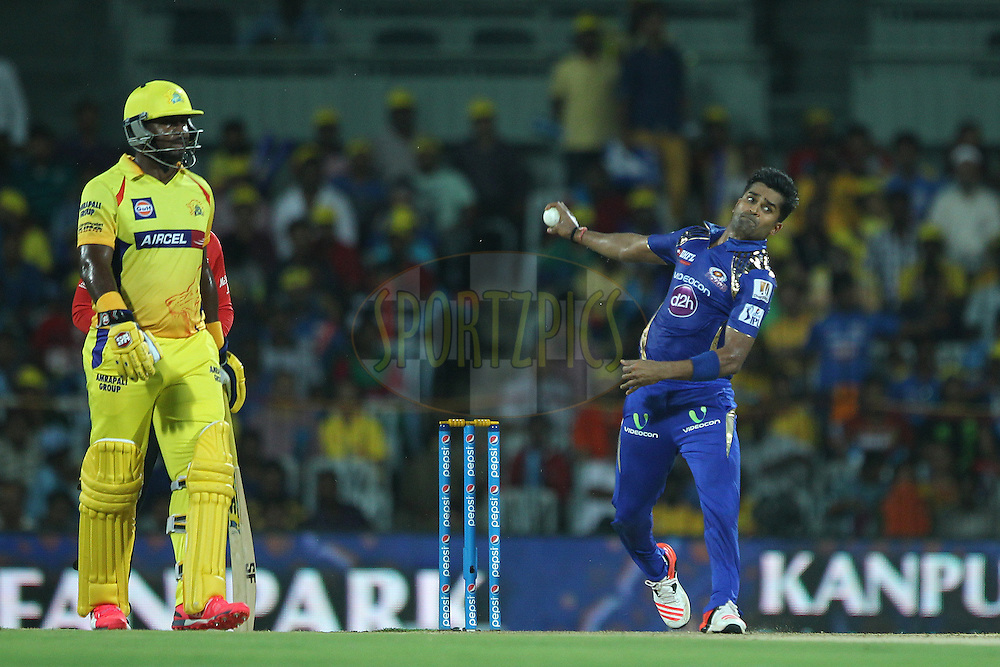 Vinay Kumar of the Mumbai Indians  during match 43 of the Pepsi IPL 2015 (Indian Premier League) between The Chennai Superkings and The Mumbai Indians held at the M. A. Chidambaram Stadium, Chennai Stadium in Chennai, India on the 8th May April 2015.<br /> <br /> Photo by:  Ron Gaunt / SPORTZPICS / IPL