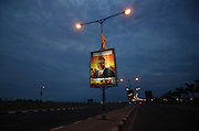 Advertising campaign posters from Popular Movement for the Liberation of Angola (MPLA) with the figure of José Eduardo dos Santos, are scattered trough the streets of the capital, Luanda, on the 23 August 2012. Elections will take place on August 31.