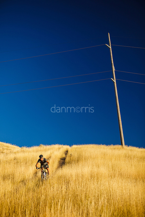 Mountain biker in the foothills above Salt Lake City