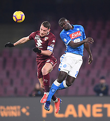 BEIJING, Feb. 19, 2019  Napoli's Kalidou Koulibaly (R) vies with Torino's Andrea Belotti (L) during a Serie A soccer match between Napoli and Torino in Napoli, Italy, Feb. 16, 2019. (Credit Image: © Alberto Lingria/Xinhua via ZUMA Wire)