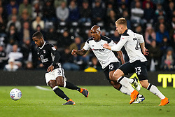 Ryan Sessegnon of Fulham takes on Andre Wisdom and Matej Vydra of Derby County - Mandatory by-line: Robbie Stephenson/JMP - 11/05/2018 - FOOTBALL - Pride Park Stadium - Derby, England - Derby County v Fulham - Sky Bet Championship