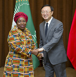 BEIJING, Feb. 15, 2013  Chinese Foreign Minister Yang Jiechi (R) shakes hands with Chairperson of the African Union (AU) Commission Nkosazana Dlamini-Zuma (L) ahead of the fifth China-AU strategic dialogue in Beijing, capital of China, Feb. 15, 2013. (Credit Image: © Huang Jingwen/Xinhua/ZUMAPRESS.com)