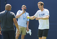 Tennis - 2017 Aegon Championships [Queen's Club Championship] - Day One, Monday<br /> Andy Murray training session<br /> <br /> Men's Singles, Round of 32<br /> Andy Murray and staff see the funny side after joking around with coach Jez Green on Court 7.<br /> <br /> COLORSPORT/ANDREW COWIE