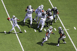 EAST RUTHERFORD, NJ - SEPTEMBER 7: Geno Smith (7) of the New York Jets throws a pass during the first quarter of their game against the Oakland Raiders at MetLife Stadium on September 7, 2012 in East Rutherford, NJ.  (Photo by Ed Mulholland/Getty Images) *** Local Caption *** Geno Smith