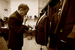 UK ENGLAND LONDON 15JAN09 - Headcutter Patrick Murphy takes measure on a suit at The Huntsman tailors in Saville Row, central London. Established in 1849, the Huntsman has been located at the legentary Saville Row since 1919...jre/Photo by Jiri Rezac..© Jiri Rezac 2009