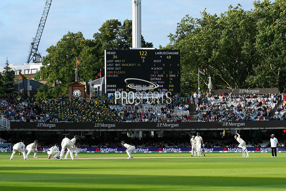 Jack Leach of England bowling to Marnus Labuschagne of Australia in the evening sunshine during the International Test Match 2019 match between England and Australia at Lord's Cricket Ground, St John's Wood, United Kingdom on 18 August 2019.