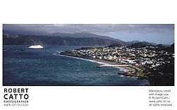 A panoramic view of Seatoun Wharf, Wellington, New Zealand.