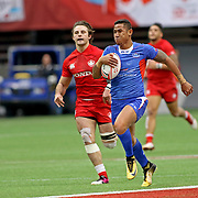 Captain Alatasi Tupou scored Manu's first half try in Samoa's stunning come from behind upset of Canada, 21-15, at the Canada 7's, Day 2, BC Place, Vancouver, British Columbia, Canada.  Photo by Barry Markowitz, 3/11/18, 3pm