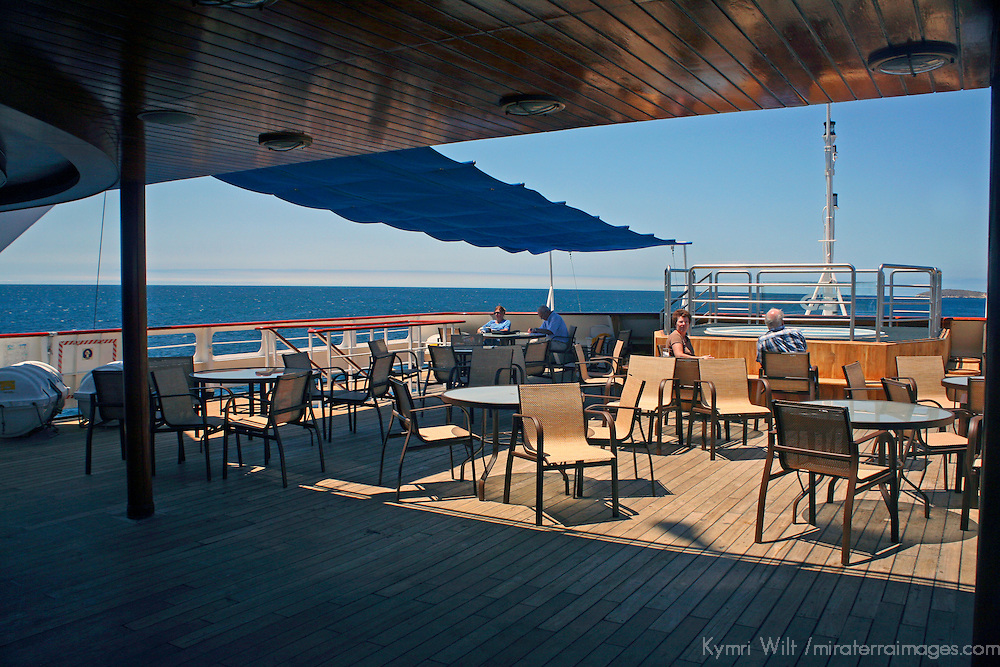 South America, Ecuador, Galapagos Islands. The upper deck of the m/v Galapagos Explorer II.