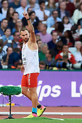 Great Britain, London - 2017 August 10: Marcin Krukowski (Warszawianka) of Poland competes in men&rsquo;s javelin qualification during IAAF World Championships London 2017 Day 7 at London Stadium on August 10, 2017 in London, Great Britain.<br /> <br /> Mandatory credit:<br /> Photo by &copy; Adam Nurkiewicz<br /> <br /> Adam Nurkiewicz declares that he has no rights to the image of people at the photographs of his authorship.<br /> <br /> Picture also available in RAW (NEF) or TIFF format on special request.<br /> <br /> Any editorial, commercial or promotional use requires written permission from the author of image.