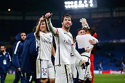 Maxwell celebrates after Paris Saint-Germain win the math 1-2 to progress to the last 8 of the competition - Mandatory byline: Rogan Thomson/JMP - 09/03/2016 - FOOTBALL - Stamford Bridge Stadium - London, England - Chelsea v Paris Saint-Germain - UEFA Champions League Round of 16: Second Leg.
