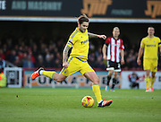 Nottingham Forest midfielder Henri Lansbury launching a Forest attack during the Sky Bet Championship match between Brentford and Nottingham Forest at Griffin Park, London, England on 21 November 2015. Photo by Matthew Redman.