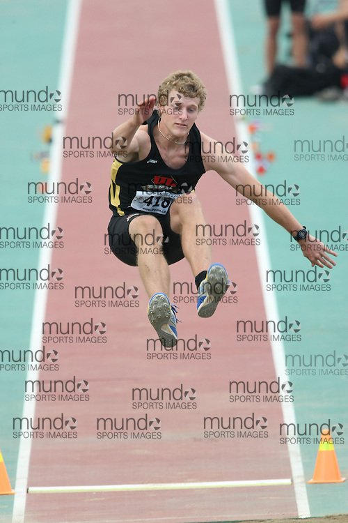 (Sherbrooke, Quebec---10 August 2008) Roc Lessard competing in the youth octathlon long jump at the 2008 Canadian National Youth and Royal Canadian Legion Track and Field Championships in Sherbrooke, Quebec. The photograph is copyright Sean Burges/Mundo Sport Images, 2008. More information can be found at www.msievents.com.