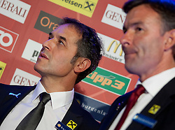 04.10.2011, Oberwart, AUT, OeFB, Praesentation Nationalteam Trainer, im Bild Marcel Koller und Willi Ruttensteiner // during the presentation of the new OeFB coach in Oberwart, AUT, on 2011-10-04, EXPA Pictures © 2011, PhotoCredit: EXPA/ Erwin Scheriau