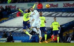 Pierre-Michel Lasogga of Leeds United challenges Richard Keogh of Derby County to a header - Mandatory by-line: Robbie Stephenson/JMP - 31/10/2017 - FOOTBALL - Elland Road - Leeds, England - Leeds United v Derby County - Sky Bet Championship