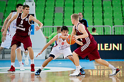 Arturs Bremers of Latvia vs Nenad Miljenovic of Serbia during basketball match between National teams of Serbia and Latvia in Quarterfinal Match of U20 Men European Championship Slovenia 2012, on July 20, 2012 in SRC Stozice, Ljubljana, Slovenia. (Photo by Matic Klansek Velej / Sportida.com)
