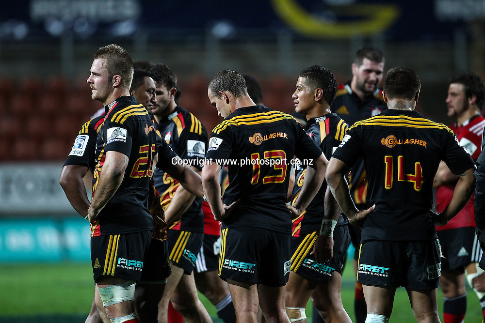 Dejects Chiefs players after the Super 15 Rugby match - Chiefs v Crusaders at Waikato Stadium, Hamilton, New Zealand on Saturday 19 April 2014.  Photo:  Bruce Lim / www.photosport.co.nz