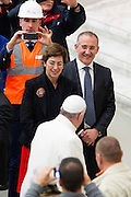 Vatican City dec 19th 2015, pope's audience to railway employers and workers. In the picture pope Francis with Gioia Ghezzi, president Ferrovie dello Stato Italiane, and Renato Mazzoncini, CEO