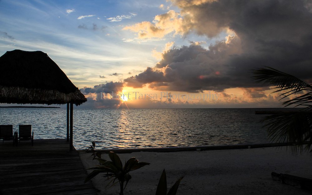 Sunrise from a coastal resort in Belize