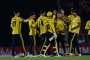 Hampshire celebrate the wicket of John Simpson of Middlesex during the Vitality T20 Blast South Group match between Hampshire County Cricket Club and Middlesex County Cricket Club at the Ageas Bowl, Southampton, United Kingdom on 20 July 2018. Picture by Dave Vokes.