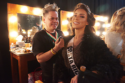 December 8, 2019, Atlanta, Georgia, USA: Paola Chacón Fuentes, Miss Costa Rica 2019 gets makeup done by an OP Cosmetics artist backstage during The Miss Universe Competition telecast, held at Tyler Perry Studios. Contestants from around the globe have spent the last few weeks touring, filming, rehearsing and preparing to compete for the Miss Universe crown. (Credit Image: © Benjamin Askinas/Miss Universe Organization via ZUMA Wire)