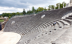 This theatre dates from the first century AD, seats 6000, and remains in use today.  It's the crown jewel of Puymin, one of two extensive  Roman ruins incorported into the heart of Vaison-La-Romaine today.