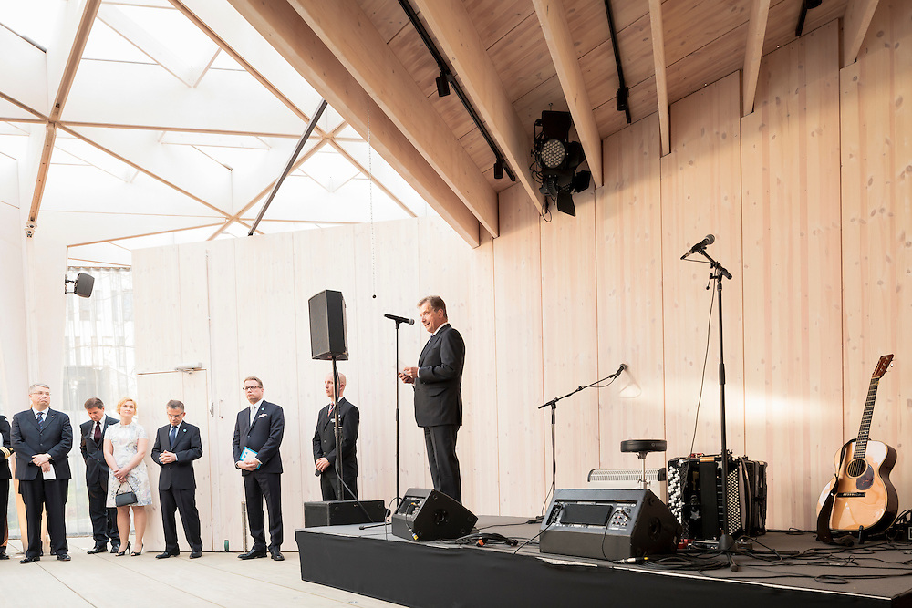President of Finland, Sauli Niinistö speaks at the opening party of the Paviljonki - wooden pavilion for Helsinki world design capital 2012
