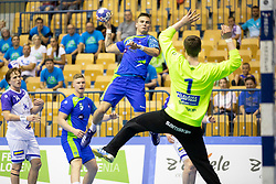 Domen Makuc of Slovenia during handball match between National teams of Slovenia and Iceland in Main Round of 2018 EHF U20 Men's European Championship, on July 25, 2018 in Arena Zlatorog, Celje, Slovenia. Photo by Urban Urbanc / Sportida