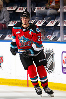 KELOWNA, BC - SEPTEMBER 28:  Dillon Hamaliuk #22 of the Kelowna Rockets warms up against the Everett Silvertips  at Prospera Place on September 28, 2019 in Kelowna, Canada. (Photo by Marissa Baecker/Shoot the Breeze)