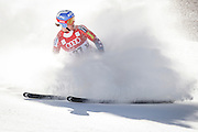 SHOT 12/4/15 12:20:17 PM - American skier Jared Goldberg throws up snow as he slides to a stop in the finish area at the 2015 Audi Birds of Prey Downhill at Beaver Creek Ski Resort in Beaver Creek, Co. Birds of Prey is the only men's Audi FIS Ski World Cup stop in the United States. (Photo by Marc Piscotty / © 2015)