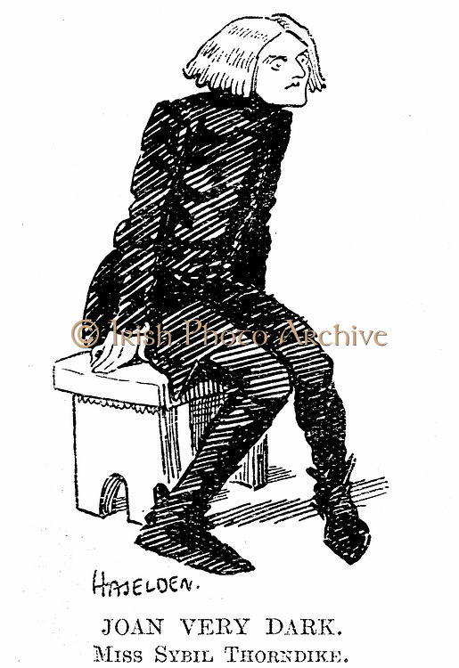 Sybil Thorndike (1882-1976) English actress. Cartoon of Thorndike in first production of GB Shaw's 'Saint Joan'. From 'Punch', London, 24 April 1924