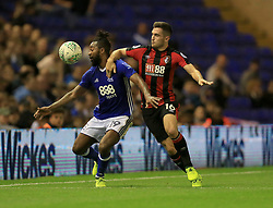 Jacques Maghoma of Birmingham City and Lewis Cook of Bournemouth battle for the ball - Mandatory by-line: Paul Roberts/JMP - 22/08/2017 - FOOTBALL - St Andrew's Stadium - Birmingham, England - Birmingham City v Bournemouth - Carabao Cup