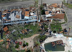 August 27, 2017 - Rockport, Texas, U.S. - Damage caused by Hurricane Harvey to Rockport, Texas is seen in a Sunday, aerial photo. The eye of the Category 4 storm passed directly over Rockport as it made landfall late Friday night. (Credit Image: © San Antonio Express-News via ZUMA Wire)