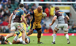 Soane Tonga'uiha of Bristol Rugby runs into tackles - Mandatory by-line: Robbie Stephenson/JMP - 03/09/2016 - RUGBY - Twickenham - London, England - Harlequins v Bristol Rugby - Aviva Premiership London Double Header