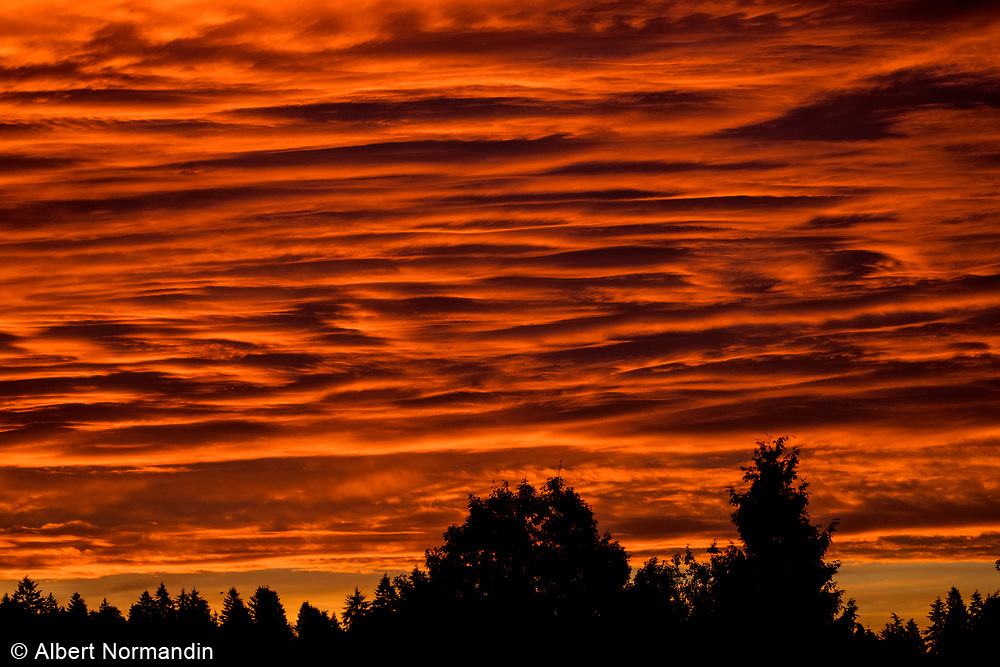 Sunrise colours and clouds as Fall begins, Vancouver, B.C. Canada
