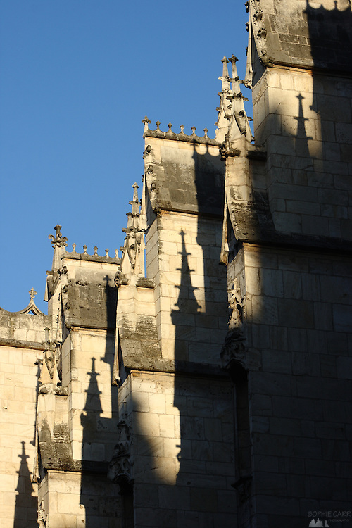 The setting sun produces long shadows of the spires on a church in central Lyon, France