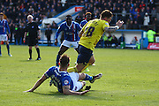 Carlisle United Defender Danny Grainger making a vital tackle during the Sky Bet League 2 match between Carlisle United and Oxford United at Brunton Park, Carlisle, England on 30 April 2016. Photo by Craig McAllister.