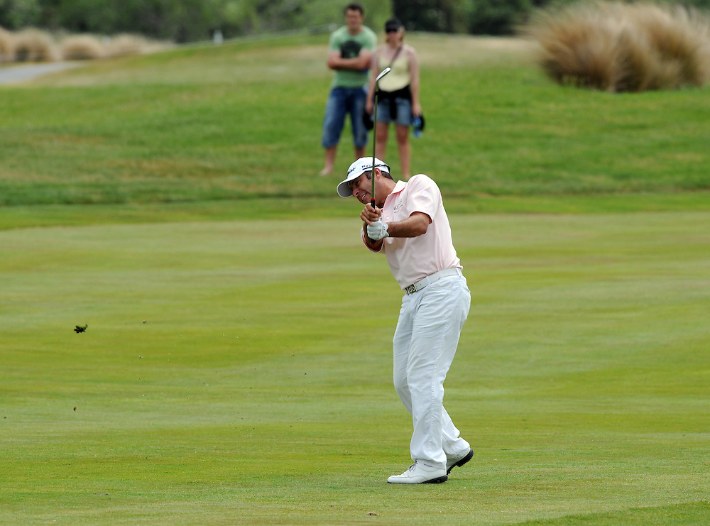 West Australian Terry Pilkadaris plays off the 7th fairway on the final round of the BMW New Zealand Golf Open, Clearwater, Christchurch, New Zealand, Sunday, December 04, 2011. Credit:SNPA / Ross Setford