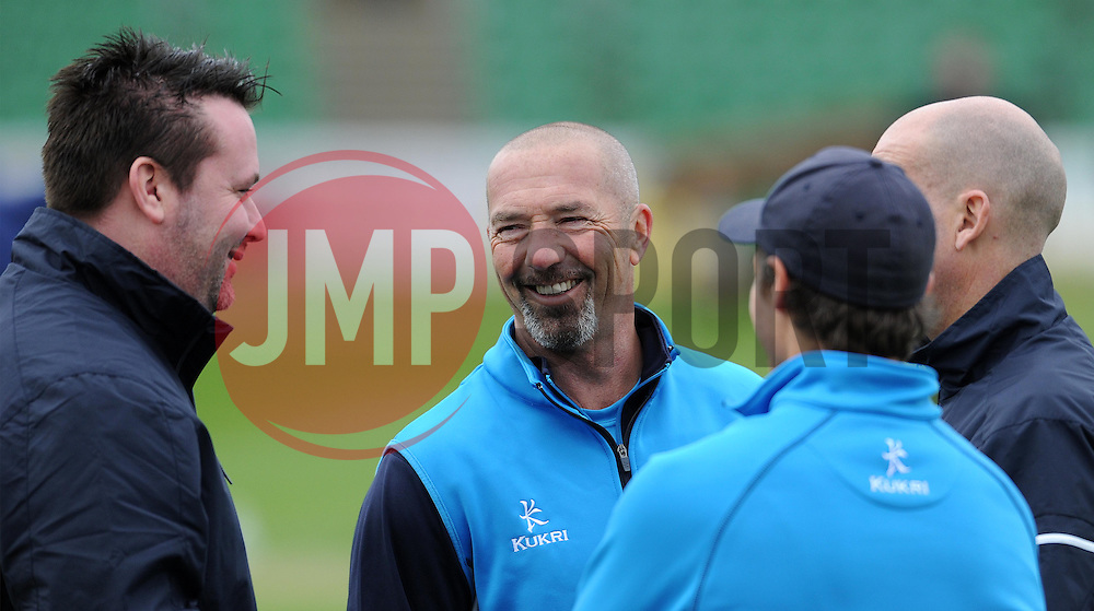Somerset's Matt Maynard shares a joke - Photo mandatory by-line: Harry Trump/JMP - Mobile: 07966 386802 - 30/03/15 - SPORT - CRICKET - Pre Season Fixture - T20 - Somerset v Gloucestershire - The County Ground, Somerset, England.