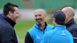 Somerset's Matt Maynard shares a joke - Photo mandatory by-line: Harry Trump/JMP - Mobile: 07966 386802 - 30/03/15 - SPORT - CRICKET - Pre Season Fixture - T20 - Somerset v Gloucestershire - The County Ground, Somerset, England.