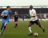 Photo: Mark Stephenson/Richard Lane Photography. <br /> Hereford United v Wycombe Wanderers. Coca-Cola League Two. 15/03/2008. Hereford's Theo Robinson on the ball with Russell Martin