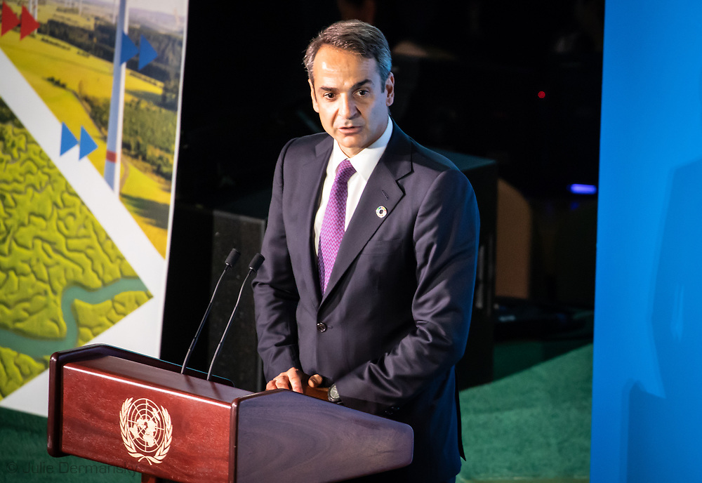 Prime Minister of Greece, Kyriakos Mitsotakis, speaking at the UNClimate Action Summit. addresses the Climate Action Summit in the United Nations General Assembly, at U.N. headquarters on Monday, Sept. 23, 2019.