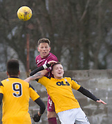 Arbroath&rsquo;s Ricky Little oujumps East Fife&rsquo;s Jamie Insall - East Fife v Arbroath, SPFL League Two at New Bayview<br /> <br />  - &copy; David Young - www.davidyoungphoto.co.uk - email: davidyoungphoto@gmail.com