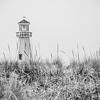 Photo of New Buffalo  lighthouse with beach sand grass in Southwestern Michigan in black and white.