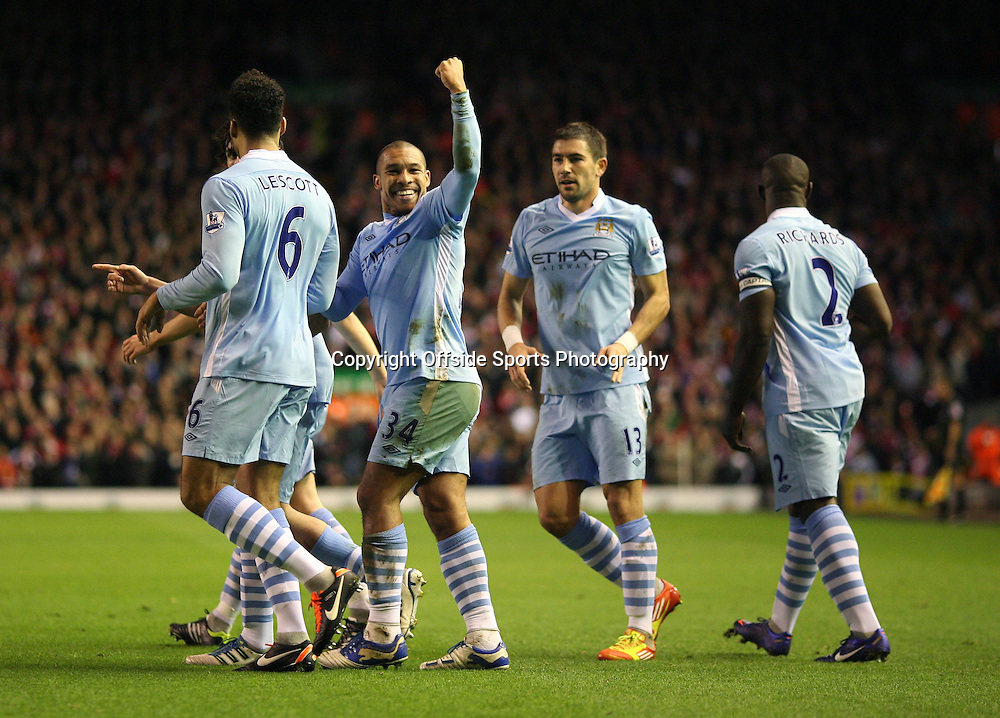 25/01/2012 - Carling Cup Semi-Final (2nd Leg) - Liverpool vs. Manchester City - Nigel de Jong of Man City celebrates after scoring their 1st goal - Photo: Simon Stacpoole / Offside.