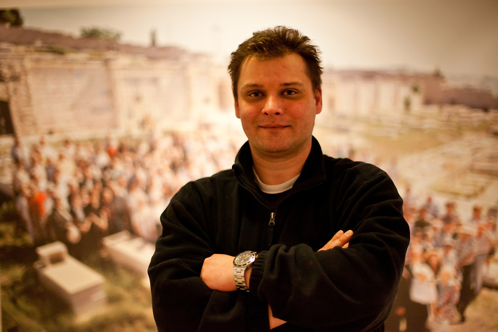 """Curater Radoslav Fikejz at the exhibition about Oskar Schindler with the title """"In search of the star of David"""" at the local museum in the city of Svitavy in 2012. Oskar Schindler was born 1908 in Svitavy (German: Zwittau) - now located in Czech Republic. Oskar Schindler (28 April 1908  9 October 1974) was an ethnic German industrialist who saved the lives of more then 1000 jews during the 2nd World War. His story became world famous when Steven Spielberg filmed Schindlers story in the movie Schindler's List (Schindler's Ark)."""