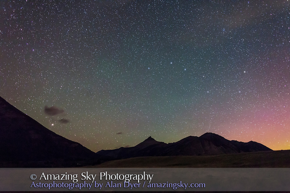 The Big Dipper and Arcturus (at left) over the peaks of Waterton Lakes National Park, Aug 30, 2013. Taken with the 24mm lens at f/2.5 and Canon 5D MkII at ISO 3200 for 30 seconds. A faint aurora adds colour at right, and airglow adds the greenish tint to the sky.